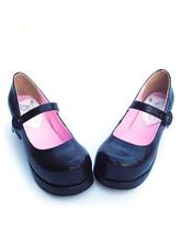 Lolitashow Matte Black Lolita Square Heels Shoes Ankle Strap Buckle Round Toe