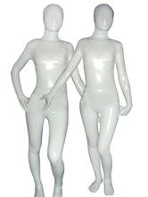 Disfraz Carnaval Zentai de brillo metálico de color blanco  Halloween