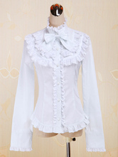 Lolitashow White Cotton Lolita Blouse Long Sleeves Stand Collar Lace Trim Ruffles Bow