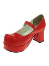 Lolitashow Süße Lolita Heels Schuh-Plattform-Pony Heels runde Zehe in Rot