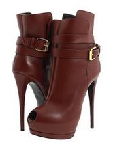 Brown Ankle Boots Kid Skin Peep Toe Buckle Detail High Heel Booties For Women