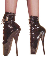 Black High Heel Boots Women Patent Leather Lace Up Sexy Ballet Boots