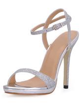 Sandales à talons aigus simples argentes rubans aux chevilles avec paillettes