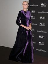 Lavender Evening Dress Taffeta A Line Prom Dress  Jewel Neck 3/4 Length Sleeves Floor Length Party Dress