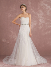Summer Wedding Dresses 2019 Tulle Strapless Bridal Dress Lace Applique Sequin Beading Sash A Line Bridal Gown With Train