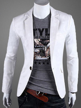 Men Blazer Casual Front Button Notch Collar White Cotton Suit Jacket 2021