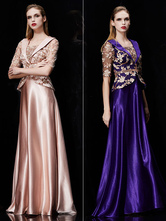 Long Evening Dress Satin Mother Dress Embroidered Beading Sash A Line Illusion Half Sleeve Shawl Collar Maxi Wedding Guest Dresses