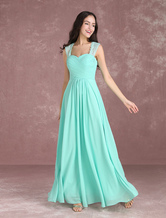 Long Bridesmaid Dresses Chiffon Mint Green Prom Dresses 2020 Sweetheart Wide Straps Keyhole Floor Length Party Dress