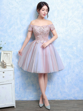 Tulle Prom Dress Lace Applique Short Cocktail Dress Soft Pink Off The Shoulder Short Sleeve A Line Party Dress