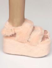 Zapatos de lolita sintéticos de puntera abierta Color liso Color Melocotón estilo street wear 7jKAF1Z