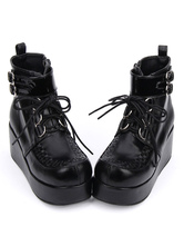 Zapatos de lolita de PU Color liso negros estilo street wear de puntera redonda