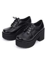 Sweet Lolita Shoes Black Platform Chunky Heel Lace Up Lolita Boots