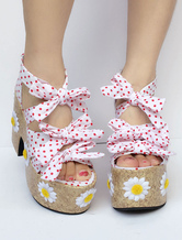 Sweet Lolita Shoes Pink Bow Platform Polka Dot Lolita Sandals