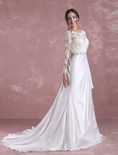 Lace Wedding Dress Ivory Long Sleeve Bridal Dress Backless Satin Sweetheart Applique Beading Sash A Line Bridal Gown With Chapel Train