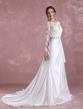 Vestido de novia línea A Sin espaldo Con cola con escote redondo con manga larga de línea A Catedral
