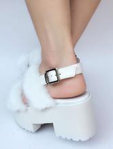 Zapatos de lolita de PU Color liso rosa estilo street wear de puntera abierta 6aS4RHSxoL