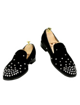 Men Black Loafers Velvet Round Toe Rivets Slip On Flat Shoes