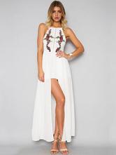 White Maxi Dress Boho Chiffon Embroidered Halter Women's Summer Beach Long Dress