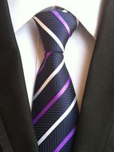 Milanoo / Deep Blue Tie Striped Neck Ties For Men