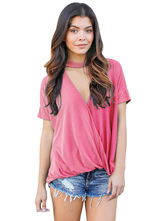 T-shirt à manches courtes à manches courtes à manches courtes en V Neck