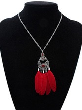 Red Pendant Necklace Boho Feathers Detail Cut Out Long Necklace