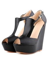 Black Wedge Sandals Peep Toe Platform Leather Buckled Platform Heels Sandal Shoes For Women