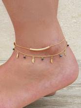 Cadena de pie para mujer con hojas de metal estilo de playa Corchete de la langosta