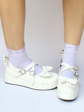 Wedge Heel Platform PU Leather Lolita Shoes With Bow