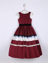 Robes de fille de fleur sans manches Qu'une ligne plissé Pageant robe Satin Crewneck tout-petit Bourgogne