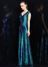 Deslumbrante vestido de baile de Sequin xadrez V-Back duas cores de ilusão