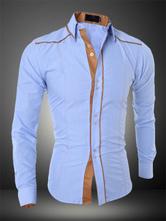 Homens camisa casual dois tons de algodão Top manga comprida