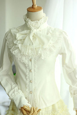 White Lace Synthetic Gothic Lolita Blouse for Women