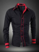 Hemd 2021 aus Schickes Polyester-Baumwolle mit Umlegekragen und Knöpfen und Farbblockim schicken & modischen Style
