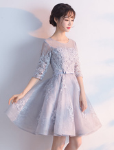 Light Grey Prom Dresses 2019 Short Floral Print Homecoming Dress Lace Half Sleeve A Line Bow Sash Knee Length Party Dress