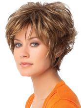 Short Hair Wigs Women's Light Brown Layered Heat Resistant Fiber Wigs