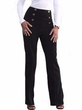 Frauen lange Hosen Tasten hohe elastische Taille gerades Bein Hosen