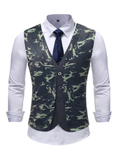 Men Suit Vest Plus Size Camo Print Fake 2 Piece Waistcoat Slim Fit Hunter Green Dress Texudo