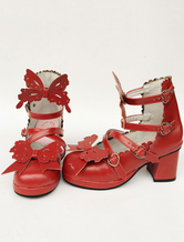 Lolitashow Red Lolita Shoes Strappy Bow Sweet Lolita Chunky Heels