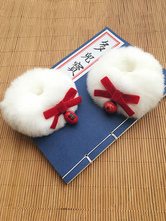 Chinese Style Lolita Hair Rings Rabbit Fur Bow Bells Lolita Hair Accessories