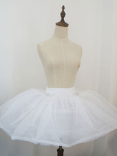 Enagua Lolita fibra de poliéster blanca estilo dulce para ocasión informal