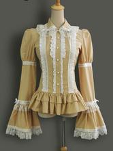 Lolitashow Classic Lolita Blouse Cotton Hime Sleeve Vintage Victorian Lolita Shirt