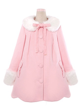 Lolitashow Sweet Lolita Coat Red Lolita Overcoat Fur Collar Bow Flare Winter Coat