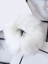 Sweet Lolita Hair Tie White Faux Fur Detail Lolita Hair Accessories