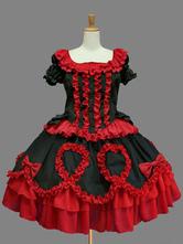 Lolitashow Classic Lolita Dress OP Red Lolita Dress Cotton Short Sleeve Ruffle Bow Lolita One Piece Dress