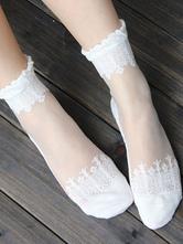 Sweet Lolita Socks Baroque Flowers Jacquard Lolita White Socks