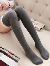 Sweet Lolita Stocking Burgundy Lace Detail Lolita Knee High Socks