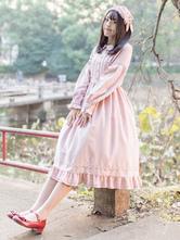 Sweet Lolita Dress OP Turndown Collar Ruffles Mid Calf One Piece Lolita Dress