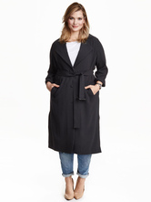 Black Wrap Coat V Neck Turndown Collar Long Sleeve Oversized Long Coat For Women