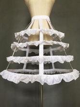 White Lolita Petticoat 4 Hoop Fishbone Lolita Crinoline