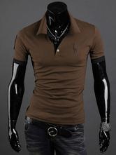 Algodón de la impresión marrón mezcla Polo camisa para hombres